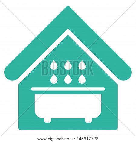 Bathroom icon. Vector style is flat iconic symbol, cyan color, white background.