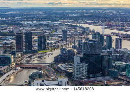 Aerial View Of Melbourne Cbd And Bolte Bridge At Sunset