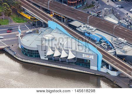 Aerial View Of Sea Life Aquarium In Melbourne Cbd