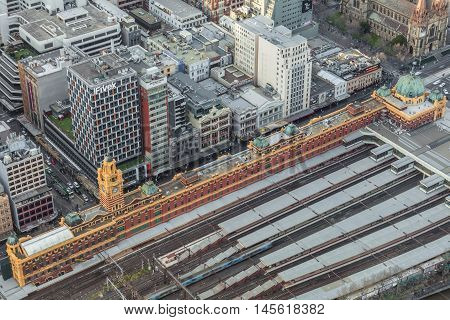 Aerial View Of Flinders Street Train Station In Melbourne Cbd