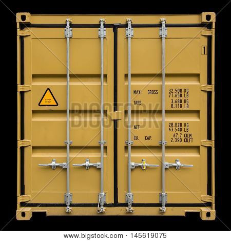 Cargo container or shipping container for logistics and transportation isolated on black background.