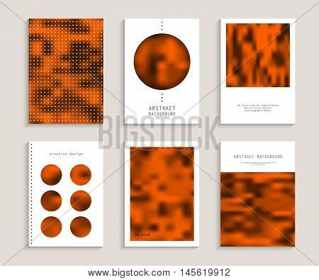 Set blurry cards for creative design. Abstract vector templates with holographic effect. Monochrome texture. Collection banners, pages, posters, covers in orange, gray, black and white tones. A4 size.