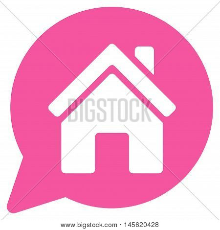 House Mention icon. Vector style is flat iconic symbol, pink color, white background.