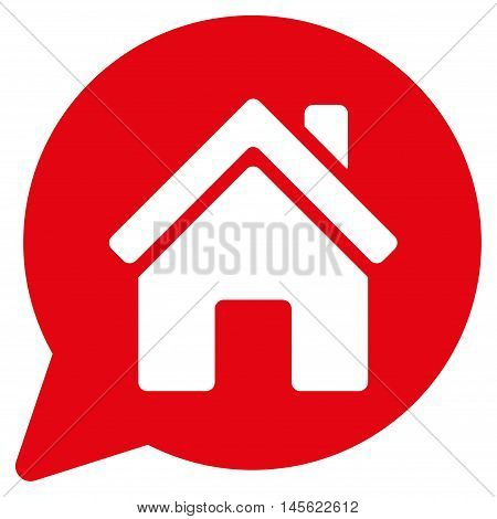 House Mention icon. Vector style is flat iconic symbol, red color, white background.