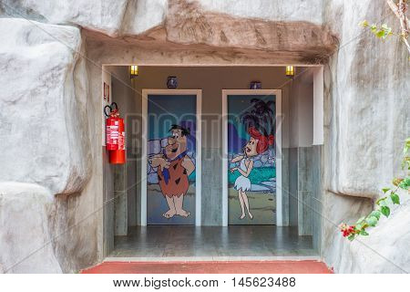 Bathhroon Painting Of Fred And Wilma Flintstone