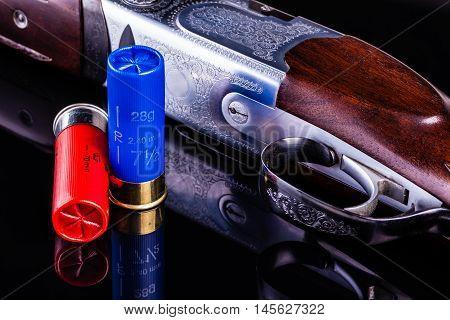 Shotgun On Black With Shells
