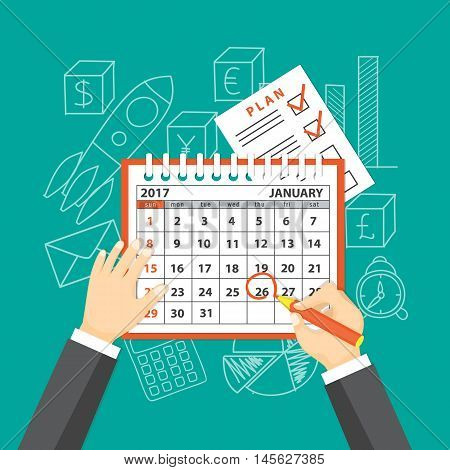 Flat modern design concept of business strategy planning meeting. Page of calendar january 2017 plan and hands with pencil on the background with hand drawn business symbols. EPS 10.