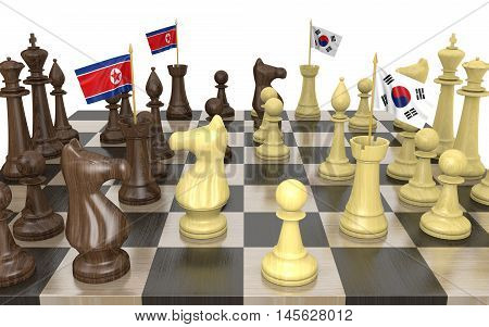 North Korea and South Korea foreign policy strategy and power struggle, 3D rendering