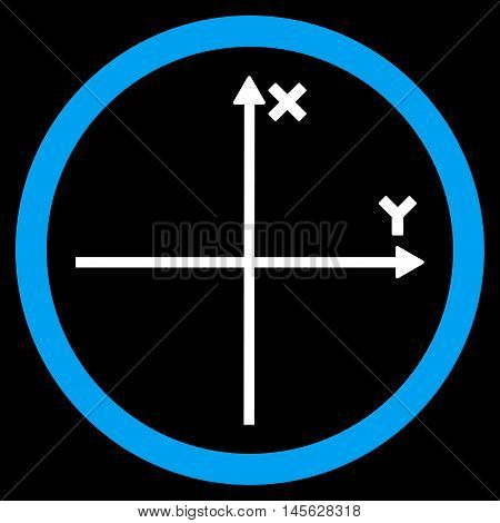 Cartesian Axis vector bicolor rounded icon. Image style is a flat icon symbol inside a circle, blue and white colors, black background.