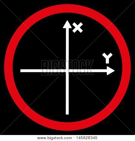 Cartesian Axis vector bicolor rounded icon. Image style is a flat icon symbol inside a circle, red and white colors, black background.