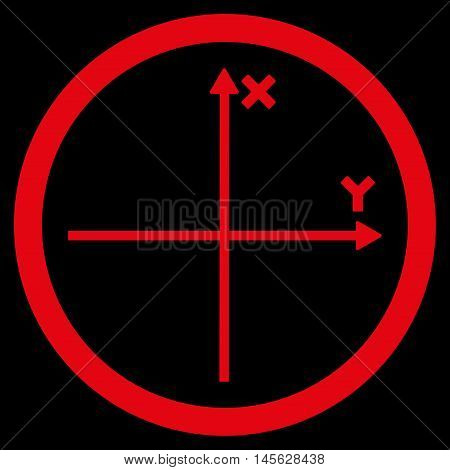 Cartesian Axis vector rounded icon. Image style is a flat icon symbol inside a circle, red color, black background.