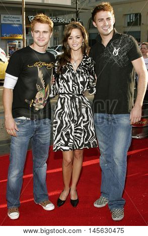 Randy Wayne, April Scott and Jonathan Bennett at the Los Angeles premiere of 'Beerfest' held at the Grauman's Chinese Theatre in Hollywood, USA on August 21, 2006.