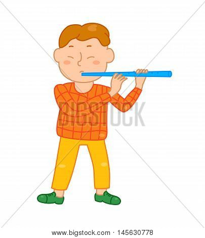 Cartoon musician kid. Vector illustration for children music. Boy isolated on white background. Cute school musical student clip art. Flutist with flute instrument