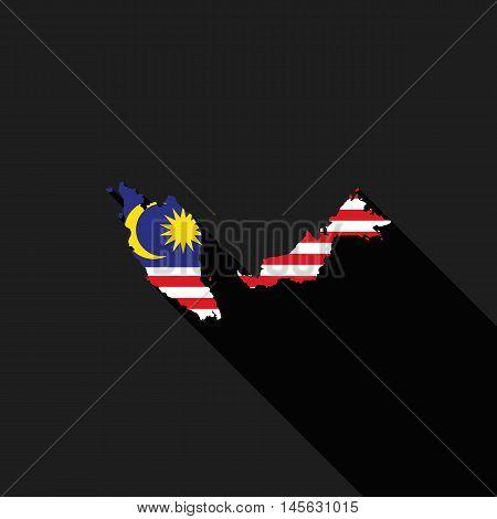 Malaysia flag map flat design icon symbol isolated long shadow vector illustration