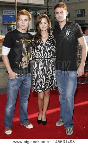 Jonathan Bennett, April Scott and Randy Wayne at the Los Angeles premiere of 'Beerfest' held at the Grauman's Chinese Theatre in Hollywood, USA on August 21, 2006.