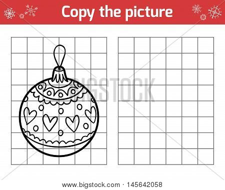 Copy The Picture For Children. Christmas Toys, Ball