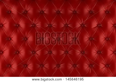 English red genuine leather upholstery, chesterfield style background. 3D rendering