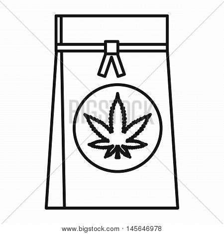 Shopping bag with marijuana leaf icon in outline style isolated on white background. Vector illustration