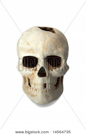 isolated skull in fas with hole on top poster