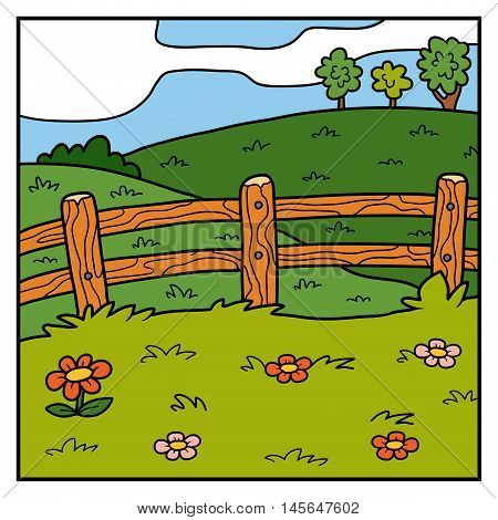Vector Color Background, Pasture, Field And Fence