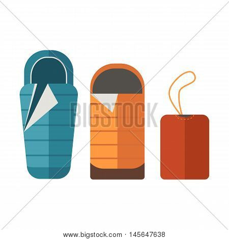 Sleeping bags set. Camping tourist bedroll isolated on white background. Hiking equipment for sleep. Unrolled and rolled sleep bag vector pictogram in flat design.