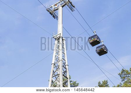 Druskininkai, Lithuania - August 28, 2016: Cableway. This is eco-friendly transport solution. The route is about 1 km long and connects Aqua Park and Snow Arena in Druskininkai.