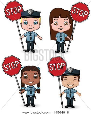 Police Children holding Stop Signs