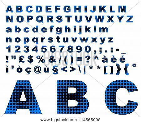 Dots Fantasy Alphabet - Blue