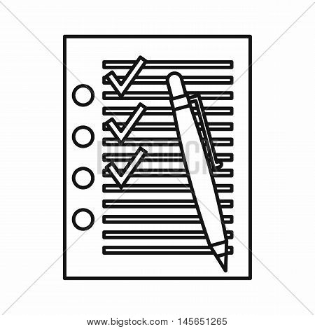 Check list with ticks in checkboxes and pen icon in outline style isolated on white background. Vector illustration