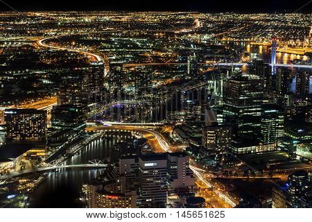 Melbourne, Australia - August 27, 2016: Aerial night view of Melbourne CBD and Yarra River. Melbourne Victoria Australia