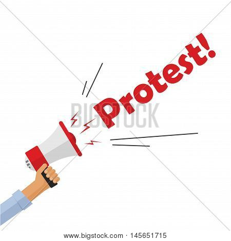 Protestor hand holding bullhorn shouting protest text sign, angry person, activist, revolution placard concept, flat cartoon style modern design vector illustration isolated on white