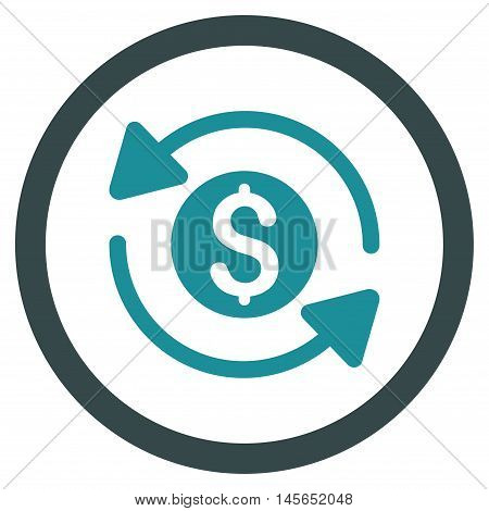Money Turnover vector bicolor rounded icon. Image style is a flat icon symbol inside a circle, soft blue colors, white background.
