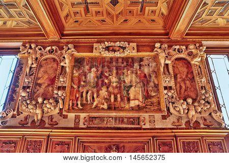 Fontainebleau, France - July 09, 2016 : Fontainebleau Palace Interiors. Gallery Francesco. Chateau W