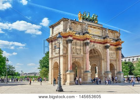 Paris, France - July 06, 2016 : Arc De Triomphe Du Carrousel (1806-1808) And People Around, Designed