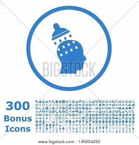 Brain Washing rounded icon with 300 bonus icons. Vector illustration style is flat iconic symbols, cobalt color, white background.