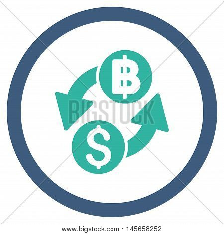 Dollar Baht Exchange vector bicolor rounded icon. Image style is a flat icon symbol inside a circle, cobalt and cyan colors, white background.