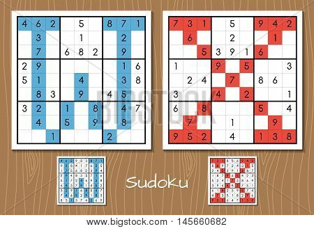 Sudoku vector set with answers. W, X letters