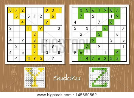 Sudoku vector set with answers. Y, Z letters