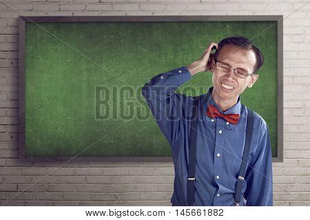 Nerd Man Scratching His Head