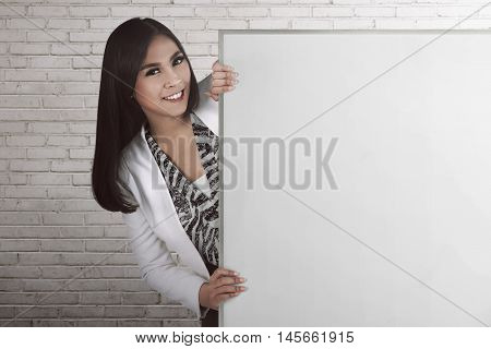 Asian Bussiness Woman Holding Blank Board