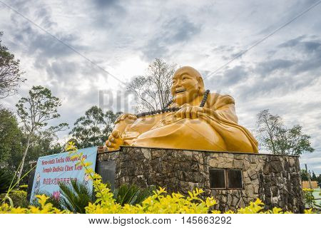 Buddhist Temple With Giant Buddha Statue In Foz Do Iguacu