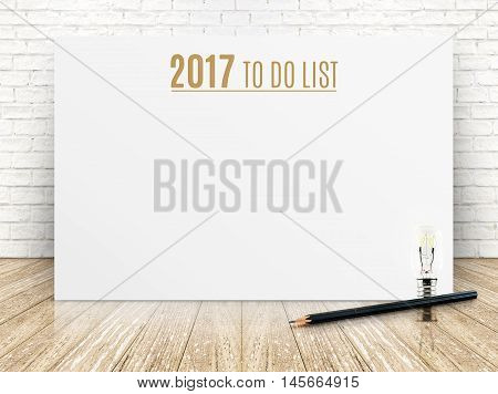 2017 To Do List Year Text On White Paper Poster With Black Pencil And Lightbulb On Wood Plank Floor