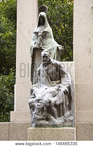 """Detail of the sculptural group in the """"Monument to the musician Ruperto Chap?"""", in Retiro Park, Madrid, Spain. It was built inaugurated in 1921 poster"""