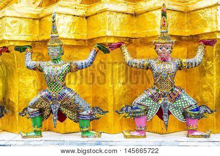 Two Giant At Gold Pagoda ,grand Palace ,bangkok, Thailand