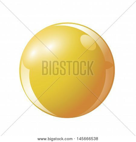 Ball yellow color, ball Russian billiards. Vector illustration