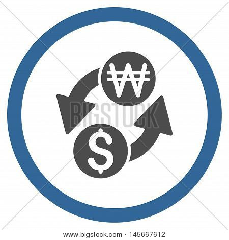Dollar Korean Won Exchange vector bicolor rounded icon. Image style is a flat icon symbol inside a circle, cobalt and gray colors, white background.