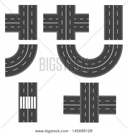 Set of different road, highway sections. Vector illustration