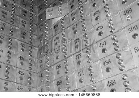 Vault boxes with numbers inside a bank