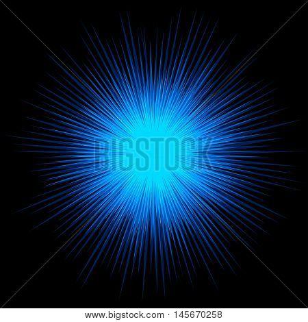 Blue cold star explosion on black background, vector design.