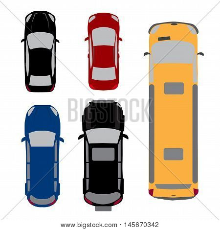 Set of five cars. Coupe, sedan, wagon, SUV, minivan View from above Vector illustration